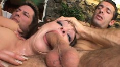 Brunette Cum Lover Rachel Gets A Double Dose Of Jizz In A Steamy Threesome