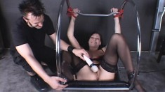 Sexy brunette slave Krissy Kage endures clamps on her pussy lips in BDSM
