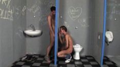 Two kinky twinks engage in glory hole cocksucking and bareback ass-fucking in the toilet