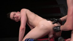 Alluring guy spreads his long legs and his boyfriend stretches his ass