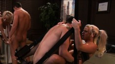 Two striking babes getting drilled by three hung studs in the office