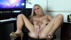 Horny blonde goddess with big tits fucks her lubed cunt with a big dildo