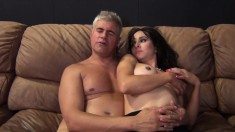 Dazzling brunette with big tits Cytherea fucks a hard pole and squirts