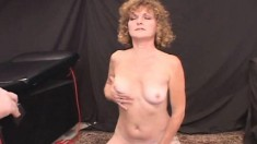 Horny divorced lady Sadie massages her nice tits and rides the sybian