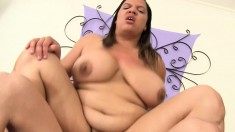 Chunky babe with huge breasts gets her needy cunt devoured and fucked