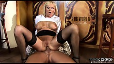 The Attractive Blonde Has That Big Shaft Drilling Her Wet Peach All Over The Bar