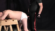Gay Stud's Master Ties Him Up And Drills Him In The Ass From Behind