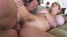 Big tit Milf Chante enjoys a young stiffy to eat and pound her trimmed snatch