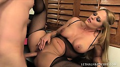Busty blonde lawyer in black stockings Holly Heart fulfills her office fantasies