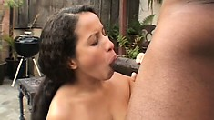 Latina slut Amanda De Silva swallows his dark meat in one gulp
