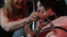 Naughty brunette Claire gets punished by her sexy blonde mistress