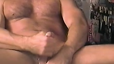 Horny biker daddies beat their bulging boners and bust some gay butt