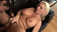 Sexy Milf lesbians let their tongues do the walking as they slurp up pussy