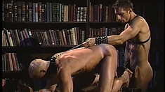 Nice slutty blonde boy is stroked and then fucked by cruel master