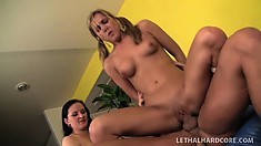 Lucky stud has two marvelous babes taking turns wildly bouncing on his long shaft