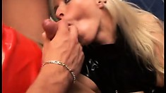 Couple in leather with Diana Wayne giving head, riding and eating cum