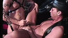 Kinky gay lovers in leather outfits enjoy lots of sucking and fucking