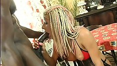 Trashy blonde broad in red fishnet stockings takes it from a BBC