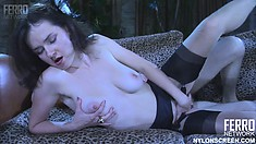 Skinny brunette Carrie offers Peter a blowjob and he pounds her snatch