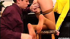 Pretty and vulnerable girl in yellow shirt Alice gets pounded by Timothy