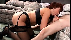 Busty mom takes advantage of her son's friend and gives head and fucks him