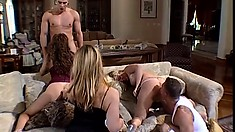 After dinner party turns into a hot orgy of hard pussy and ass pounding fun