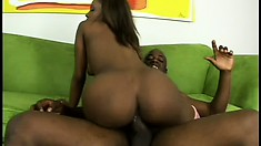 Irresistible ebony babe with a perfect ass is addicted to black cock