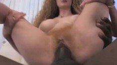 Big dick black dude gets head and fucks her twat as she spreads it wide