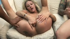 Blonde in an interracial threesome gets every hole she has drilled and a DP