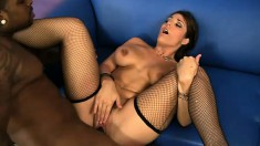 Foxy Milf Beverly Hills in lingerie plays before she gets a black bone banging her
