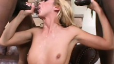 Truly slutty girl Kelly goes for a nasty ride on two thick black poles