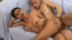 Pretty Latina with tiny boobs has a guy fucking her wet holes deep, one at a time