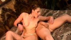Lusty Lauren Phoenix chokes and splutters on Chris Cannon's cock