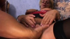 Busty old blonde bitch gets a hardcore pounding from a young dick