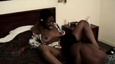 An eager ebony stunner gets her pussy serviced by her hung stud