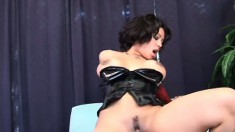 Beautiful brunette starlet gives her butt up to a monster cock