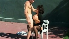Hot MILF Ashley Evans enjoys some naughty fun with her tennis partner