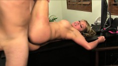 The horny boss lady orders an eager employee to bone her slit