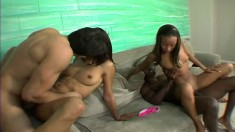 Ebony beauties Alexis and Gina getting pounded hard by two hung guys