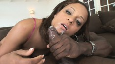 Enthusiastic ebony girl with a big booty Mya is addicted to black meat