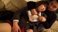 Innocent Asian cutie lets her horny lover put his hands under her panties