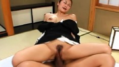 Asian cutie gets her cunny drilled hard and gets a load in her mouth