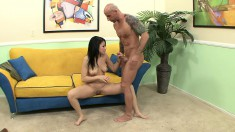 Enticing brunette with lovely tits Summer Bailey has a hunger for cock