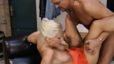 Wild blonde Peggy moves her panties to the side and fucks a hard dick