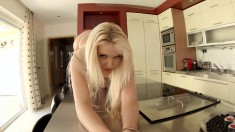Blonde Andrea Parker toys her ass and gets a dick to replace it