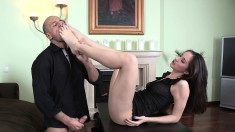 Playful young beauty Aruna brings her intense foot fantasy to fruition