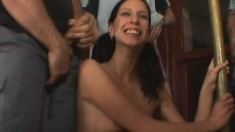 Beautiful young chick with tiny boobs gets drenched in semen and piss