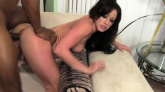 Slim brunette with a spicy ass Jennifer White loves it black and huge