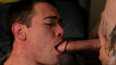 Cute gay boy takes a dick in his mouth before it drills his fiery ass