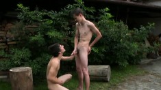 Delightful twinks indulge in hard anal sex for the first time outside